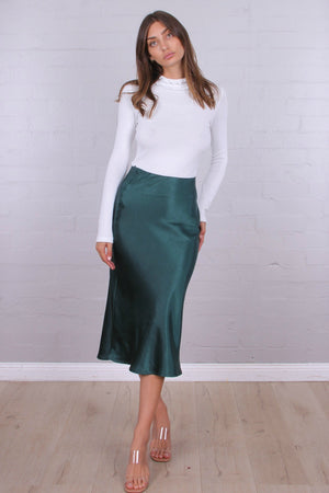 Ladies Satin Skirt Emerald Green