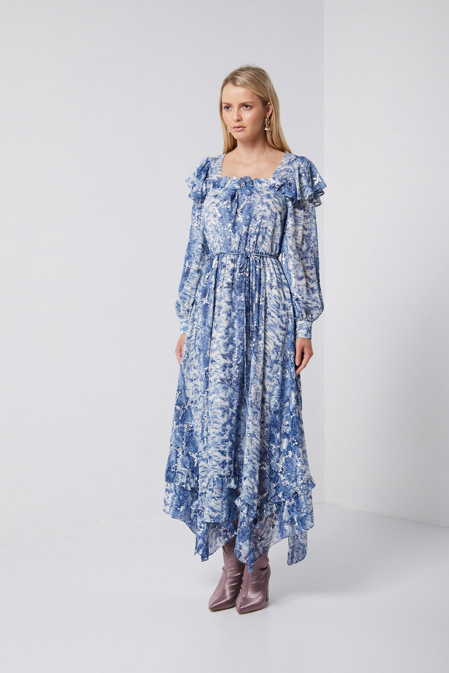 Blue long sleeve maxi-Elliatt-Signature Dress