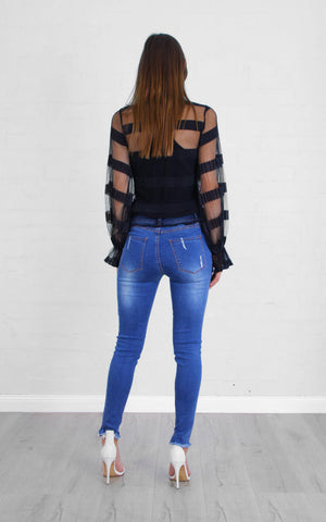 Rose Bullet Zephyrine Long Sleeve Mesh Top