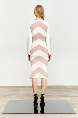 Theo Knit Dress Latte Stripe