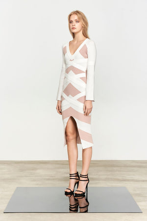 Bless'ed are the Meek Theo Knit Dress Latte Stripe