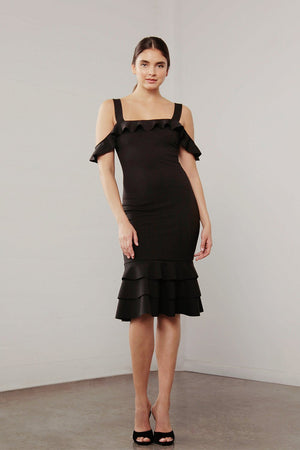 Black Ruffle hem Dress-Shilla-Utopia Dress