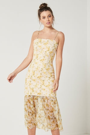 Ladies Yellow print dress-Elliatt-Wattle Dress with Detachable Skirt
