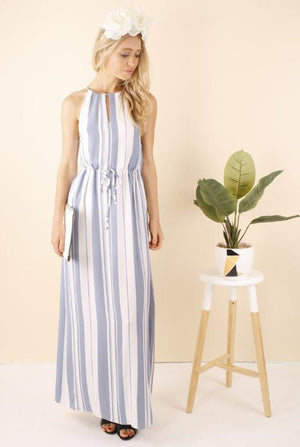 Ajoy Levora Victoria Striped Split Maxi Dress