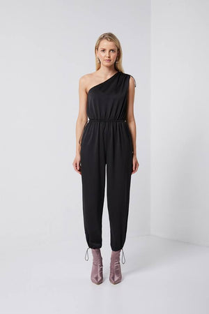 One Shoulder Black Jumpsuit-Elliatt-Backstage Jumpsuit