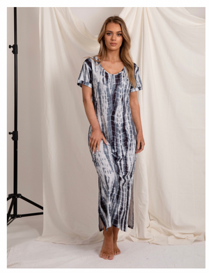 Blue Tie-Dye Dress-Love Lilly-Blue Skies Tee Dress