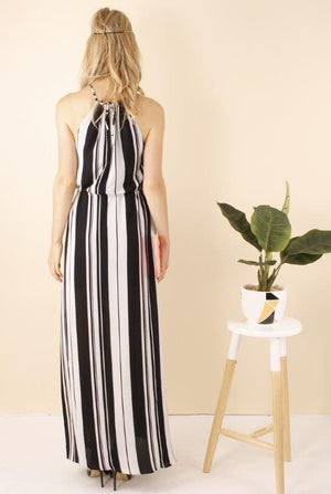 Victoria Striped Split Maxi Dress