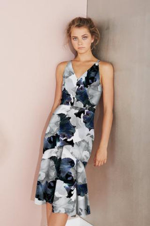 Ladies Floral Midi Dress - Cooper St - Fallen Petal V Neck Dress