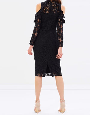 Ladies Black Lace Dress - Cooper St -Shale Away Long Sleeve Dress