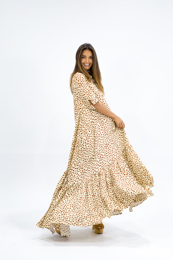 Maxi Dress with Sleeves-Caro-Sky Maxi Snow Leopard