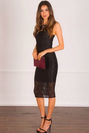 Ladies Black Dress - Bria Lace Bodycon Midi Dress - Ajoy Levora