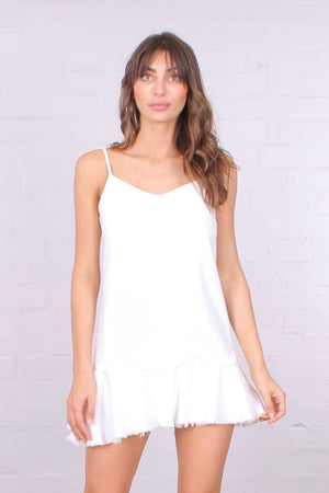 Linen Ruffle Mini Dress