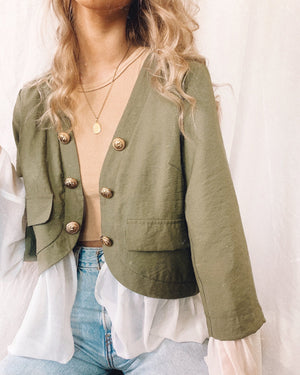 Khaki Jacket-Gold Buttons-Bagira-Peep Jacket