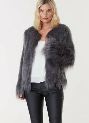 Marmont Faux Fur Jacket - Dark Grey