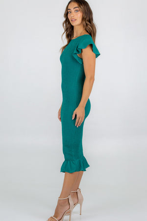 Jade Green-Style State-Butterfly Sleeve Shirred Midi