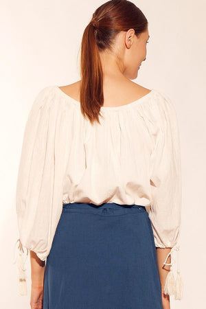 Ladies Peasant top-Solito-Sundrench Top Cream