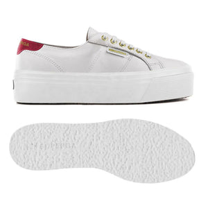 Ladies shoes-Superga 2790 Goat Nappa Leather White Fuschia