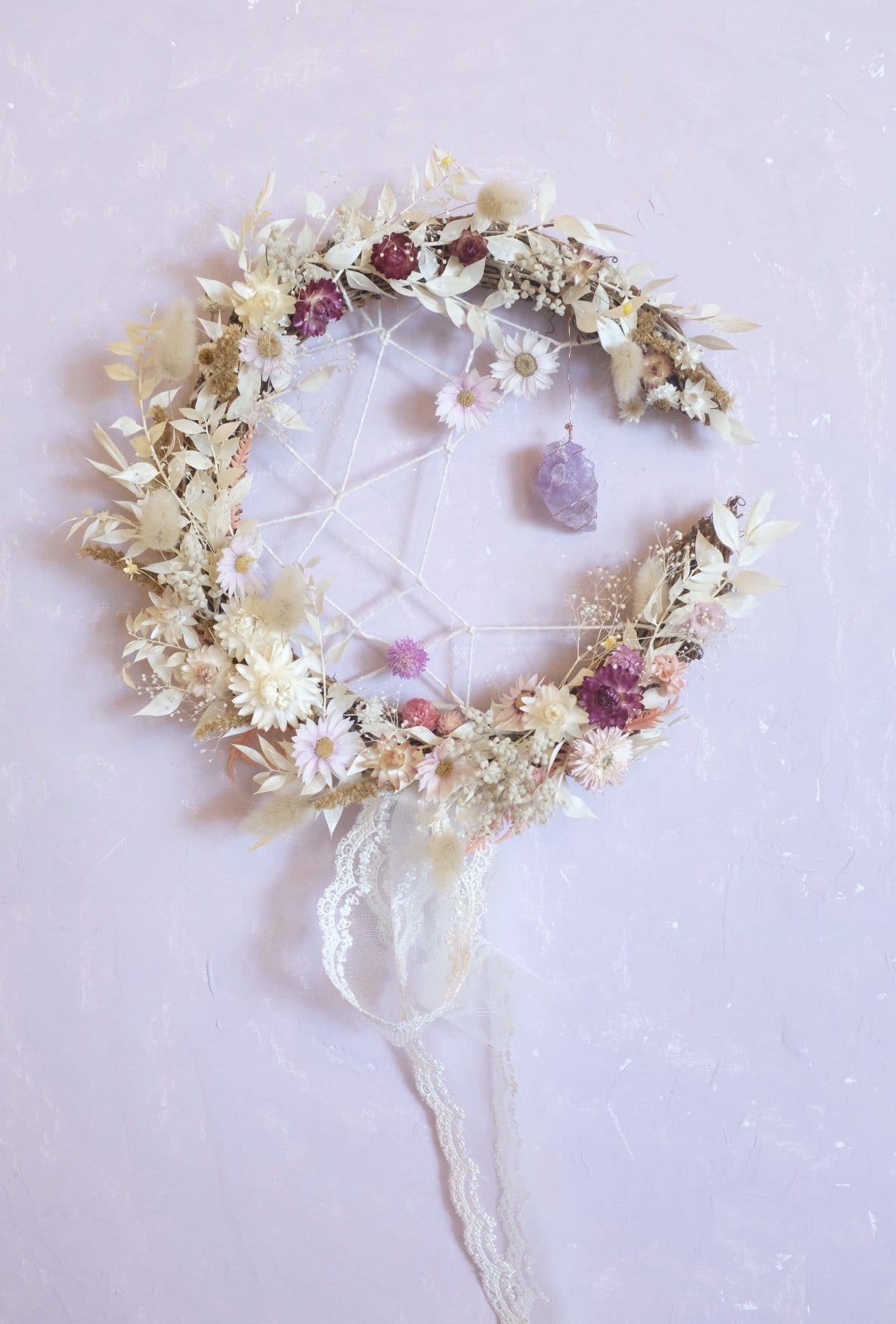 Crystal & Flowers DreamCatcher