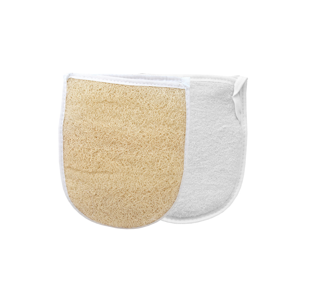 Bath sponge mitt one-sided bath loofah ( Terry cotton cloth on back )