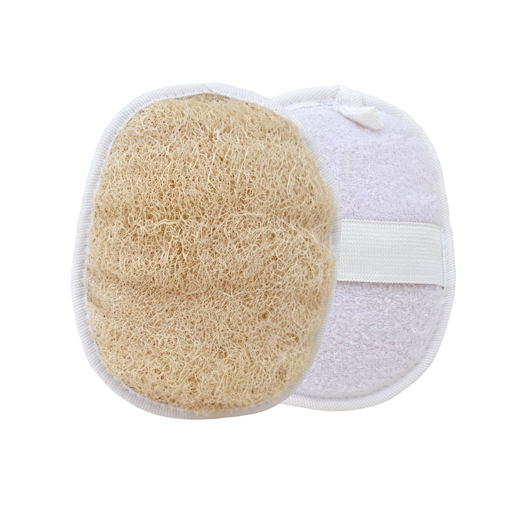 Natural bath sponge, bathing loofah oval loofa and back scrubber ( compact size )