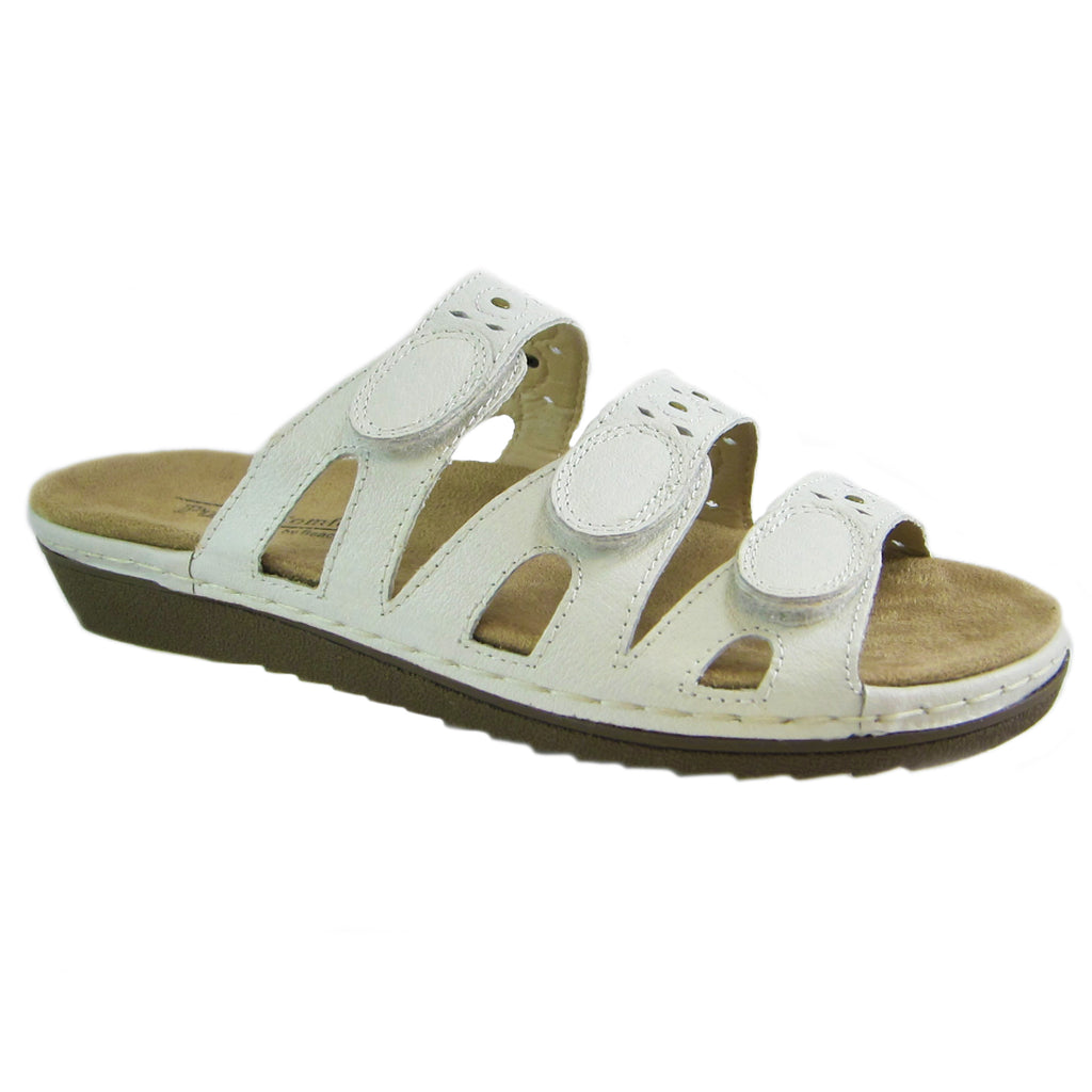 Beacon Simone white genuine leather 3 strap comfort sandal Pure Comfort