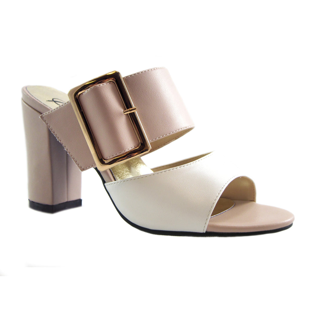 Mila blush/white slide on heel block heel