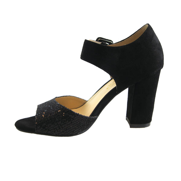 Ada By Beacon black sparkle chunky heel inside view