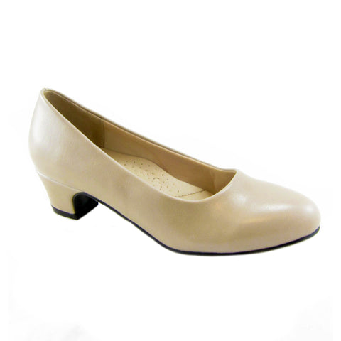 Carrie taupe classic low heel pump by Beacon