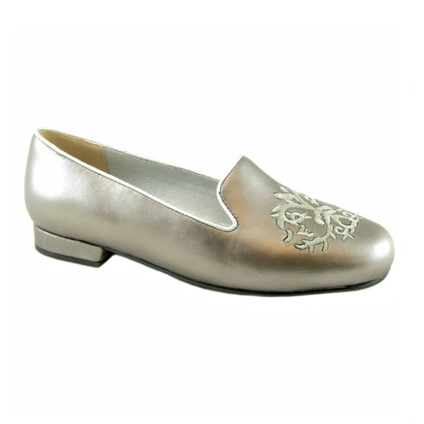 Crusader pewter leather embroidered flat by Beacon