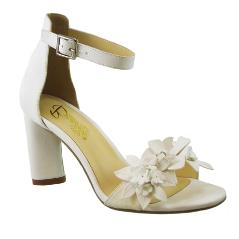 Dahlia bright white floral heel by Beacon