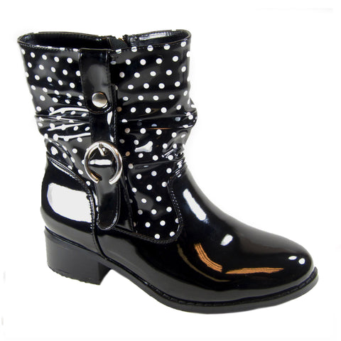 Drizzle black polkadot rain boot by Sensible Soles