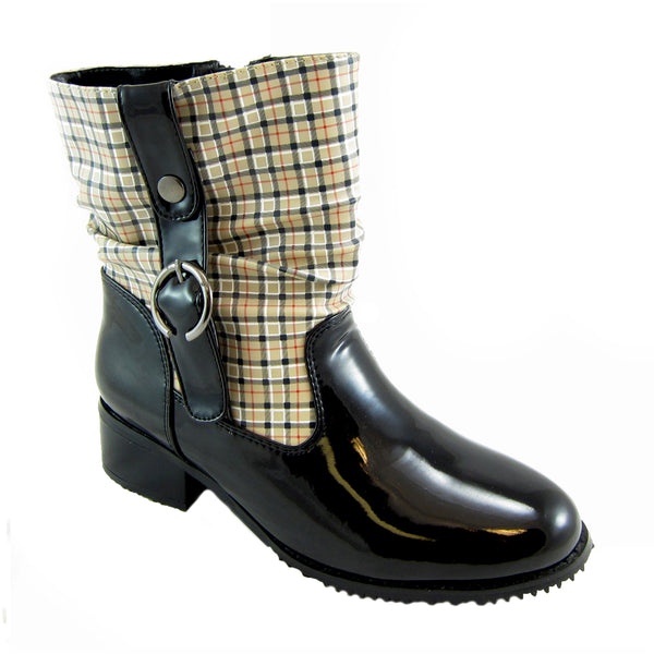 Drizzle black/Plaid rain boot by Sensible Soles