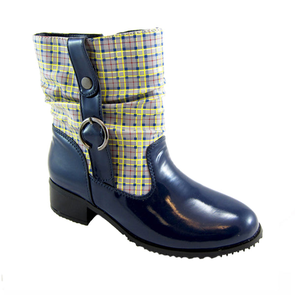 Drizzle navy/Plaid rain boot by Sensible Soles