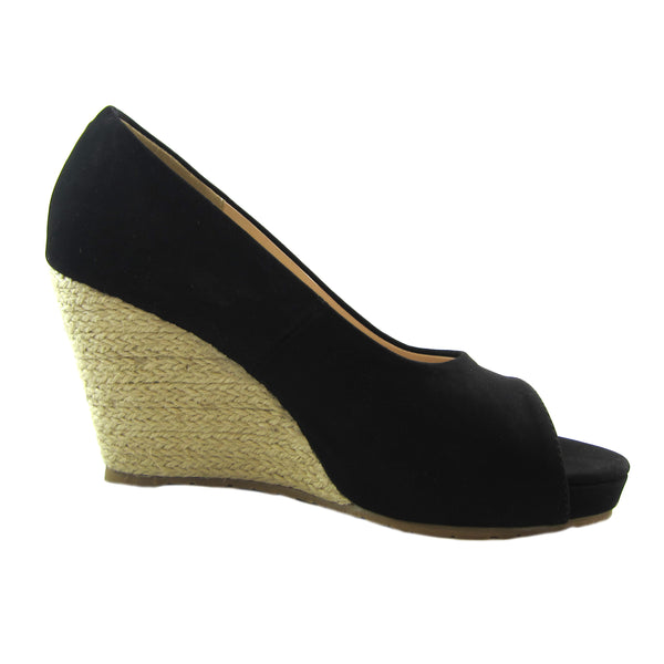 Joanne Black side espadrille wedge Beacon Fashion and Fit