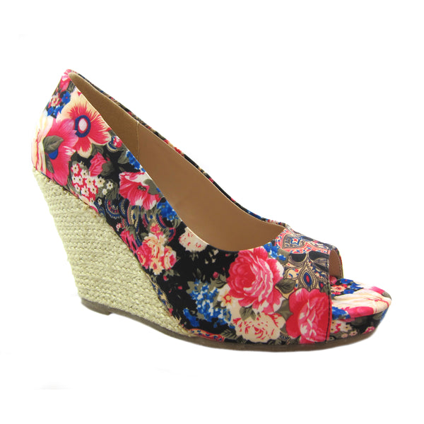 Joanne Black Floral espadrille wedge Beacon Fashion and Fit