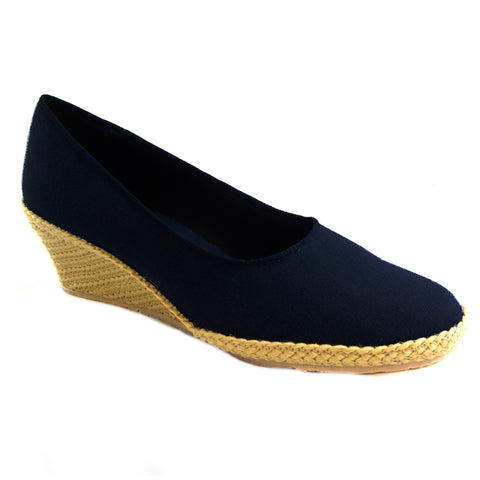 Newport black classic espadrille wedge by Beacon
