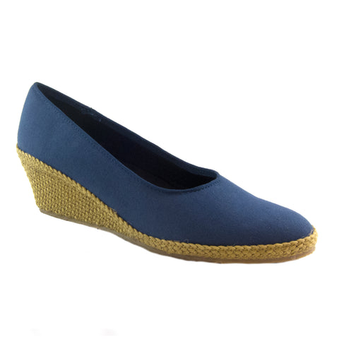 Newport navy classic espadrille wedge by Beacon
