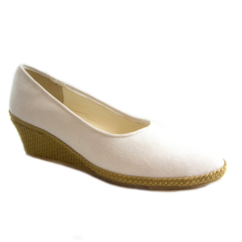 Newport white classic espadrille wedge by Beacon