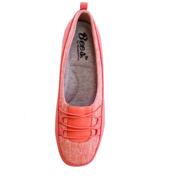 Polly Coral Bees by Beacon stretch slip on top veiw