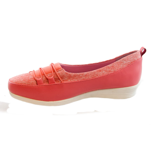 Polly Coral Bees by Beacon stretch slip on side veiw