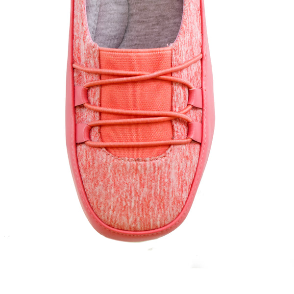 Polly Coral Bees by Beacon stretch slip on toe veiw