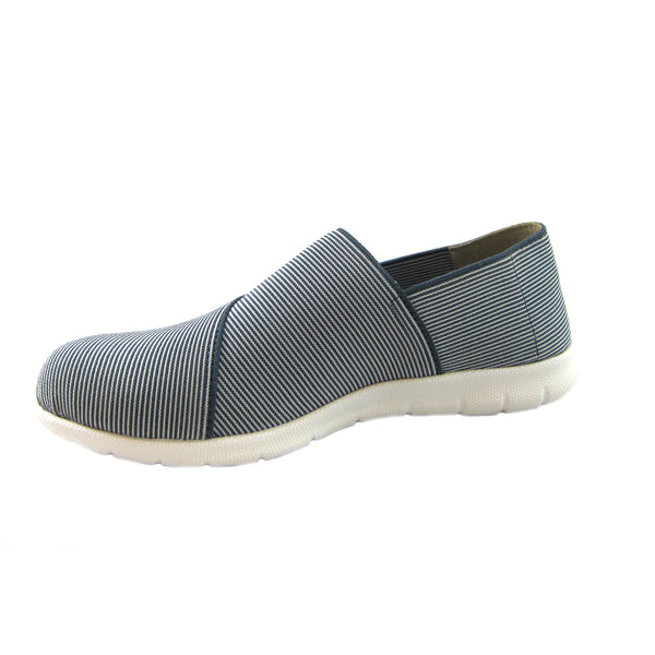 Sandy Side Blueberry all over strecth strip comfort casual slip on Bees by Beacon