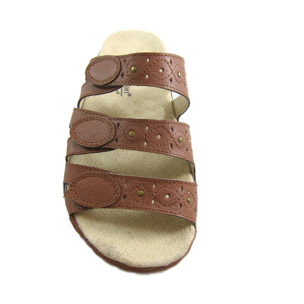 Beacon Simone Tan genuine leather 3 strap comfort sandal Pure Comfort top