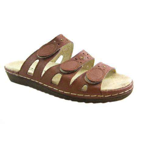 Beacon Simone Tan genuine leather 3 strap comfort sandal Pure Comfort