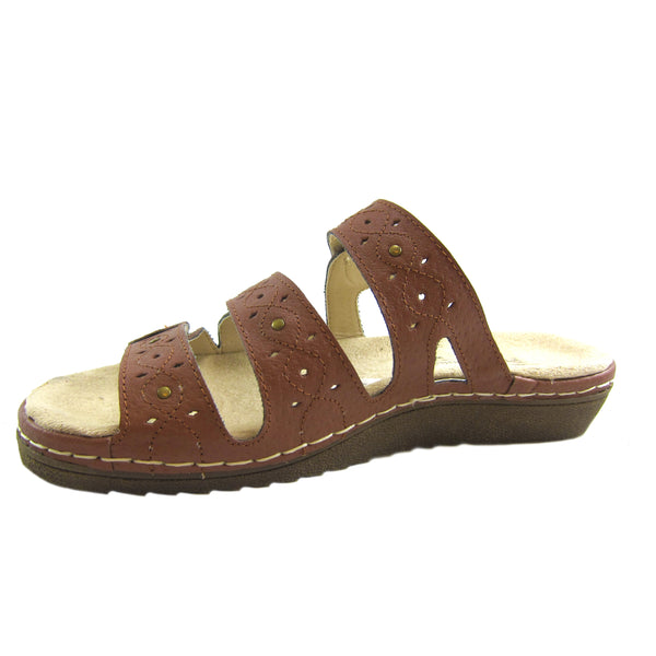 Beacon Simone Tan genuine leather 3 strap comfort sandal Pure Comfort side