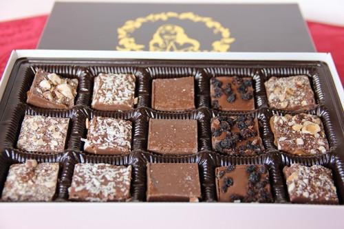Assorted Gourmet Caramels, 15pc Box in Belgian Dark or Milk Chocolate