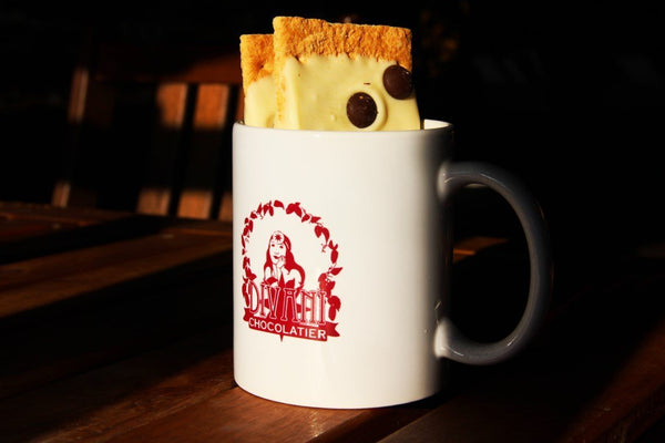 Divani Mug - 11 oz White Ceramic Cup with Divani Chocolatier Logo - Divani Chocolatier in Foxburg, Pennsylvania