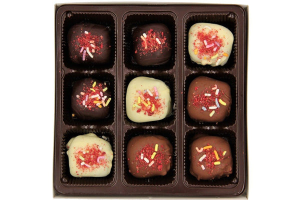 Raspberry Reverie Truffles Handmade With Belgian Dark, Milk, and White Chocolate - Divani Chocolatier in Foxburg, Pennsylvania