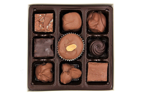 Treasure Box™ Assortment, 9pc Box with Belgian Dark and Milk Chocolate Pieces - Divani Chocolatier in Foxburg, Pennsylvania