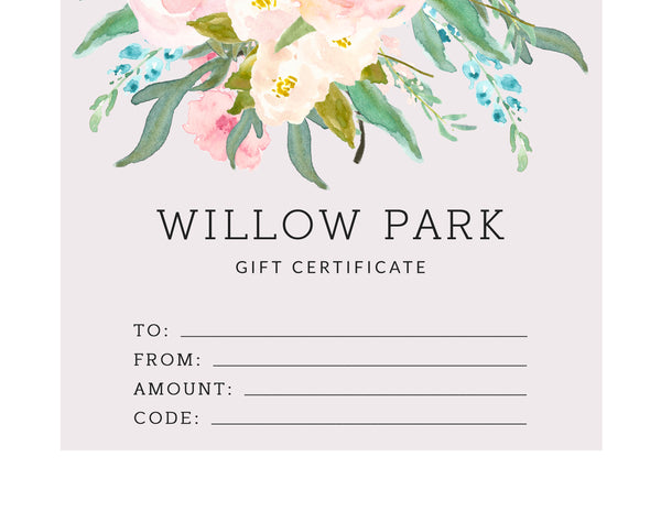 Willow Park Gift Card Printed Version